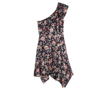 Bedrucktes One-Shoulder-Kleid mit Seide
