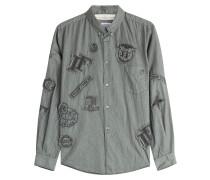 Button-Down-Hemd mit Baumwolle und Patches