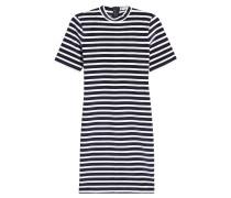Gestreiftes Shirt-Kleid mit Samt