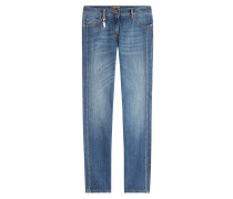 Straight Leg Jeans aus Stretch-Baumwolle