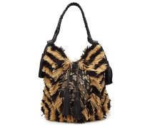 Bestickte Handtasche aus Leder und Baumwolle