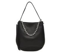 Handtasche aus Leder mit Metallkette und Nieten