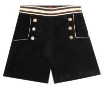 High-Waist-Shorts aus Samt
