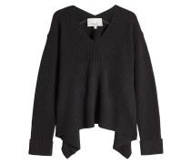 Drapierter V-Pullover aus Wolle und Yakwolle