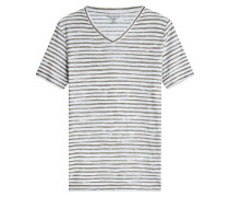 Gestreiftes V-Neck-Shirt aus Leinen