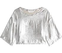 Cropped Top aus Cupro im Metallic-Look
