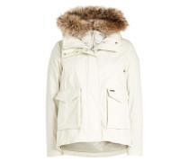 Trennbare Jacke 3 in 1 Military aus Baumwolle mit Waschbärfell