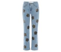7/8-Jeans mit floralem Print