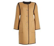 Wendbarer Mantel aus Wolle mit Kontrastborte