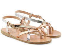 Leder-Sandalen mit Metallc-Finish