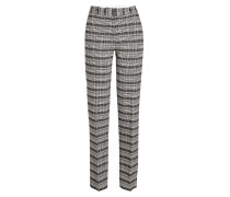 Karierte Wide Leg Pants mit Wolle