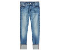 Cropped Boyfriend Skinny Jeans im Used-Look