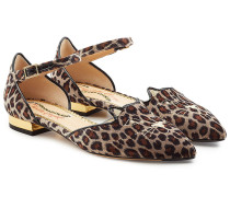Flache Sandalen Kitty aus Samt mit Animal Print