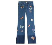 Flared-Jeans mit Schmetterlingen