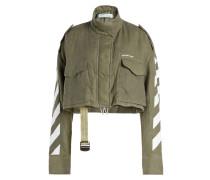 Cropped Jacke aus Leinen mit Stehkragen und Print
