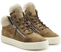 High Top Sneakers aus Veloursleder mit Lammfell