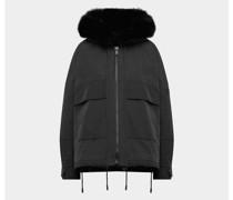 Oversized Jacke mit Pelz-Besatz