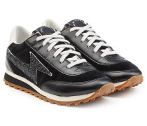 Sneakers aus Velours- und Glattleder mit Glitter