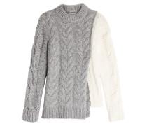 Zopfstrick-Pullover mit Wolle, Alpakawolle und Mohair