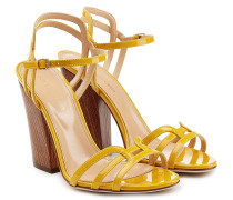 Block-Heel-Sandalen mit Lackleder