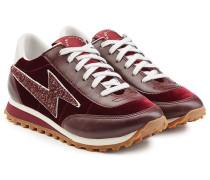 Sneakers aus Samt und Leder mit Glitter