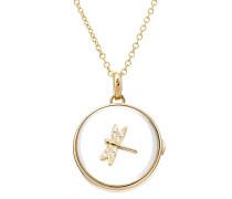 Kette Round Locket aus 14kt Gold mit Charm und Diamanten