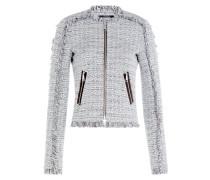 Tweed-Blazer mit Fransen