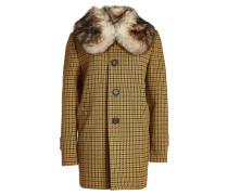 Mantel mit Hahnentritt-Muster und Pelzkragen