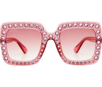 Oversized Sonnenbrille mit Schmucksteinen