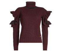 Cold-Shoulder-Pullover aus Wolle mit Rüschen