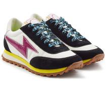 Sneakers aus Textil und Leder mit Glitter