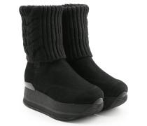 Plateau-Boots mit Veloursleder