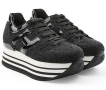 Plateau-Sneakers mit Leder, Lackleder und Glitter Finish