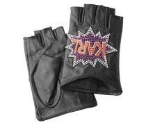 Fingerlose Leder-Handschuhe K/Pop mit Applikation