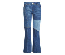 Cropped Flared Jeans im Patchwork Look