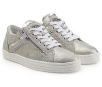 Sneakers aus Metallic-Veloursleder