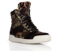 High-Top-Sneakers aus Baumwolle und Leder