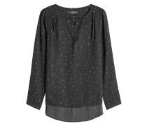 Bedruckte Bluse mit Plissees
