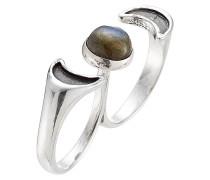 Double-Ring Luna aus Silber mit Labradorit
