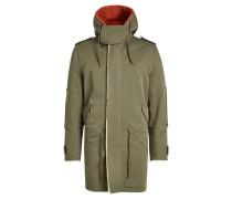 Mantel aus Baumwolle mit Lammfell, Kapuze und Print