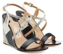 Wedges aus Leder im Patchwork-Look