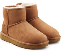 Boots Classic Mini aus Veloursleder mit Schaffell
