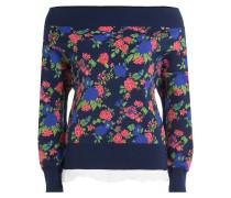 Schulterfreier Pullover mit Blumenmuster