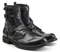 Geschnürte Leder-Boots mit Schnallen