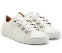 Leder-Sneakers mit Perlen