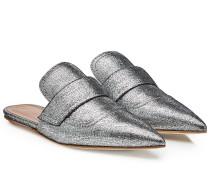 Spitze Mules aus beschichtetem Leder
