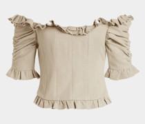 Off-Shoulder-Bluse Tao aus Leinen und Baumwolle