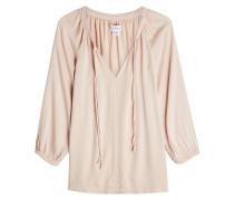 Tunika-Bluse mit geschnürtem V-Ausschnitt