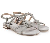 Veloursleder-Sandalen mit Glitter