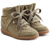 Wedge Sneakers aus Veloursleder